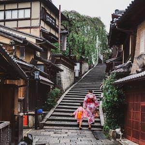 Kyoto, Japan med børn, Ninnen-zaka og Sannen-zaka skråningerne